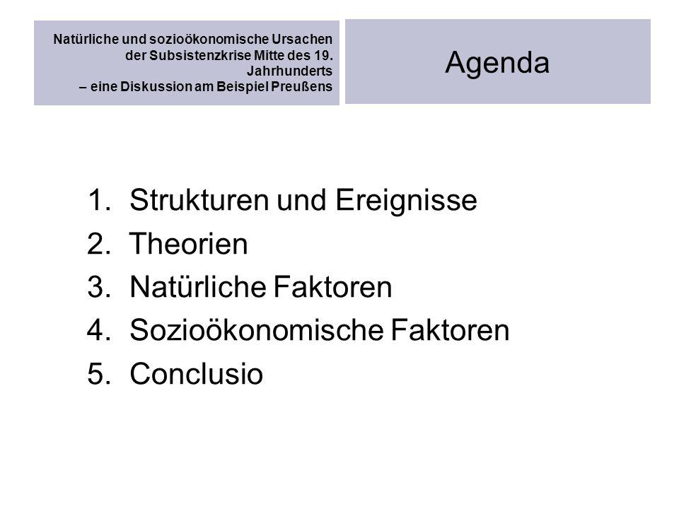 Natürliche und sozioökonomische Ursachen der Subsistenzkrise Mitte des 19. Jahrhunderts – eine Diskussion am Beispiel Preußens Agenda 1. Strukturen un