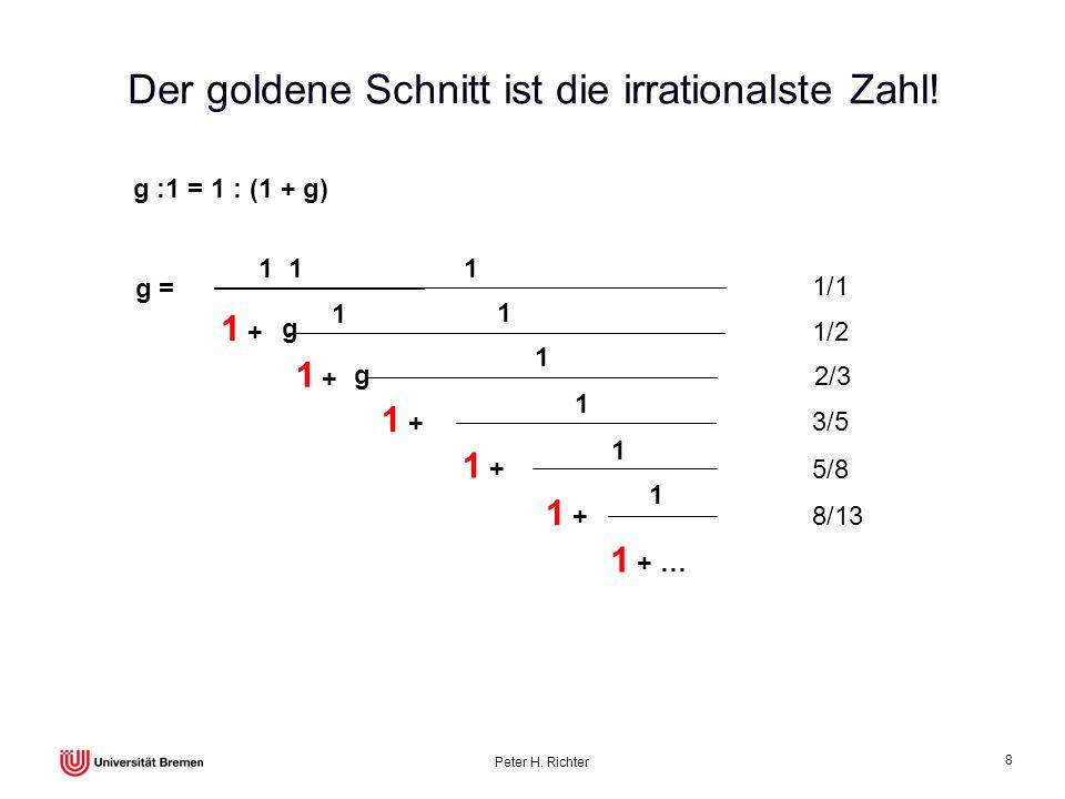 Peter H. Richter 8 Der goldene Schnitt ist die irrationalste Zahl! g :1 = 1 : (1 + g) g = 1 1 + 1 1 1 1 1 + … 1 g 1 g 1 1 1/1 1/2 2/3 3/5 5/8 8/13