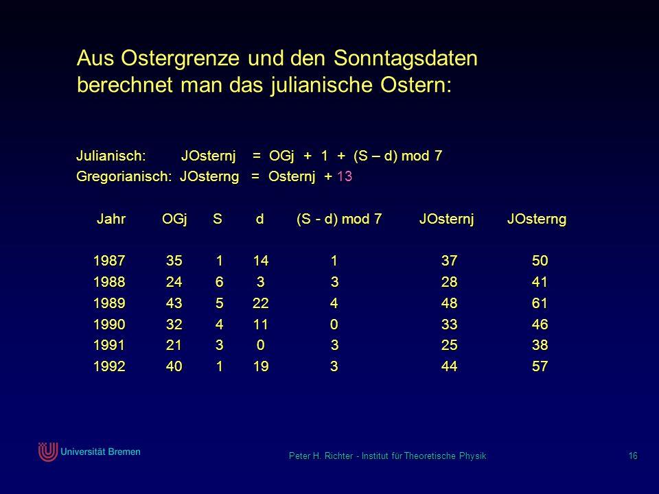 Peter H. Richter - Institut für Theoretische Physik 16 Aus Ostergrenze und den Sonntagsdaten berechnet man das julianische Ostern: Julianisch: JOstern