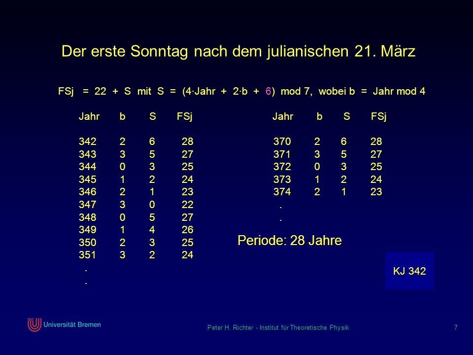Peter H. Richter - Institut für Theoretische Physik 7 Der erste Sonntag nach dem julianischen 21. März FSj = 22 + S mit S = (4Jahr + 2b + 6) mod 7, wo