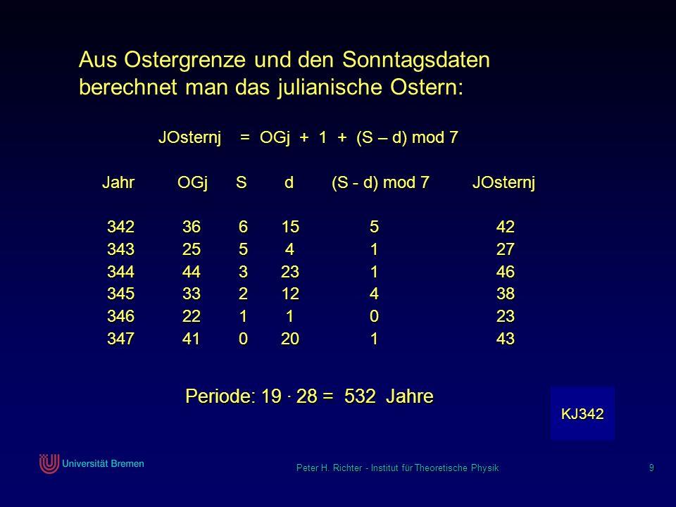 Peter H. Richter - Institut für Theoretische Physik 9 Aus Ostergrenze und den Sonntagsdaten berechnet man das julianische Ostern: JOsternj = OGj + 1 +