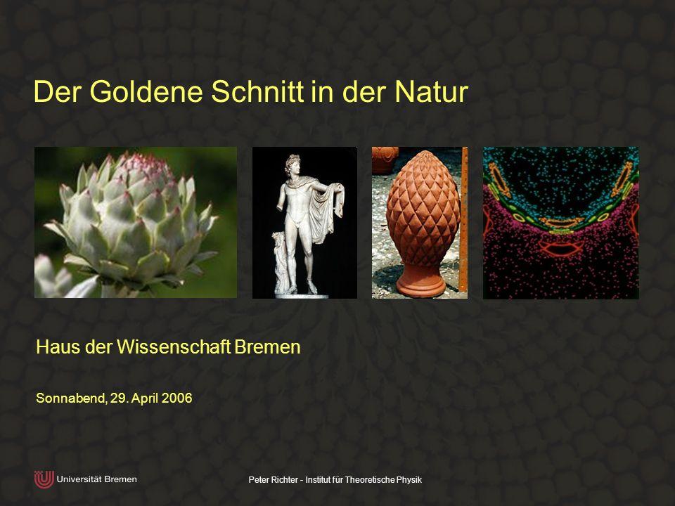 Peter Richter - Institut für Theoretische Physik Der Goldene Schnitt in der Natur Haus der Wissenschaft Bremen Sonnabend, 29. April 2006