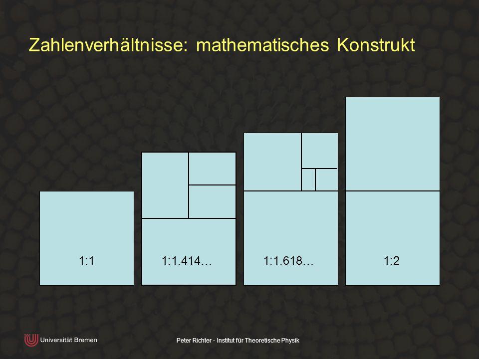 Peter Richter - Institut für Theoretische Physik Zahlenverhältnisse: mathematisches Konstrukt 1:11:1.414…1:1.618…1:2