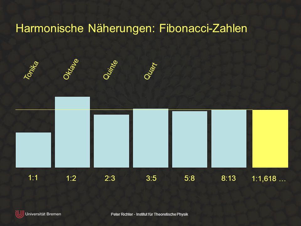 Peter Richter - Institut für Theoretische Physik Harmonische Näherungen: Fibonacci-Zahlen 1:1 1:2 2:3 3:5 5:8 8:13 1:1,618 … Tonika Oktave Quinte Quar