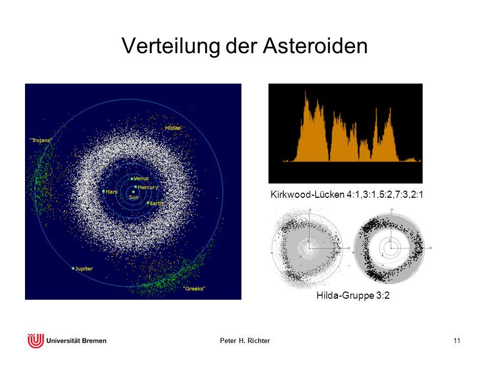 Peter H. Richter11 Verteilung der Asteroiden Hilda-Gruppe 3:2 Kirkwood-Lücken 4:1,3:1,5:2,7:3,2:1