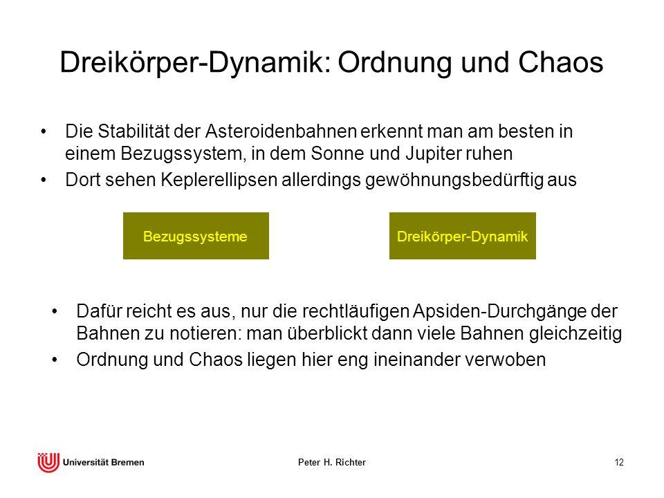 Peter H. Richter12 Dreikörper-Dynamik: Ordnung und Chaos Die Stabilität der Asteroidenbahnen erkennt man am besten in einem Bezugssystem, in dem Sonne