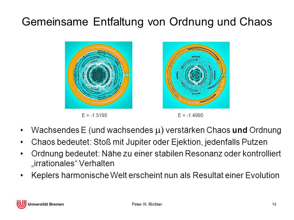 Peter H. Richter14 Gemeinsame Entfaltung von Ordnung und Chaos Wachsendes E (und wachsendes verstärken Chaos und Ordnung Chaos bedeutet: Stoß mit Jupi