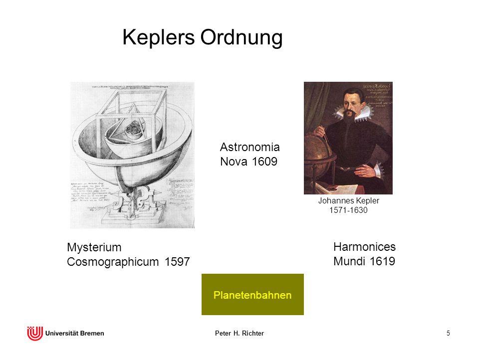 Peter H. Richter5 Keplers Ordnung Planetenbahnen Mysterium Cosmographicum 1597 Astronomia Nova 1609 Johannes Kepler 1571-1630 Harmonices Mundi 1619