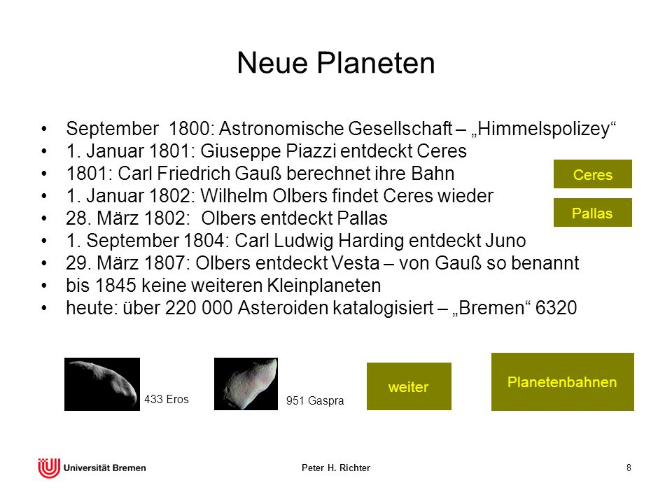 Peter H. Richter8 Neue Planeten September 1800: Astronomische Gesellschaft – Himmelspolizey 1. Januar 1801: Giuseppe Piazzi entdeckt Ceres 1801: Carl