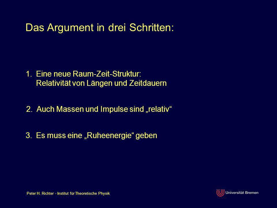Peter H. Richter - Institut für Theoretische Physik Das Argument in drei Schritten: 1.Eine neue Raum-Zeit-Struktur: Relativität von Längen und Zeitdau