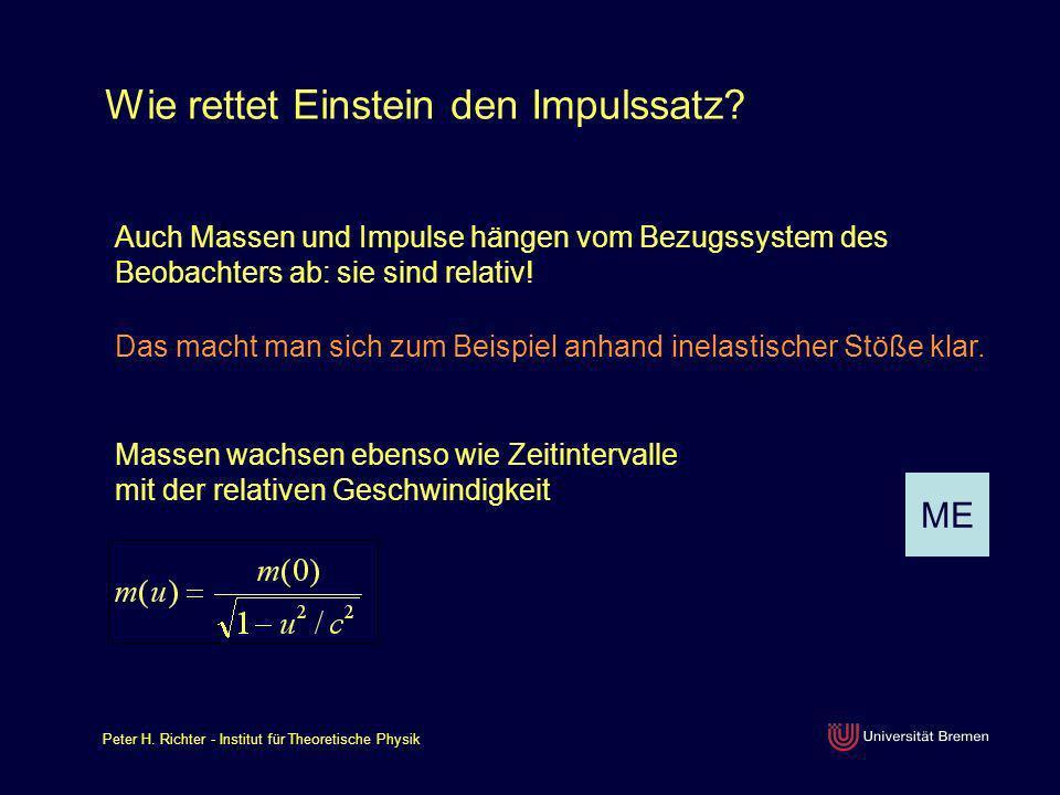 Peter H. Richter - Institut für Theoretische Physik Wie rettet Einstein den Impulssatz? Auch Massen und Impulse hängen vom Bezugssystem des Beobachter