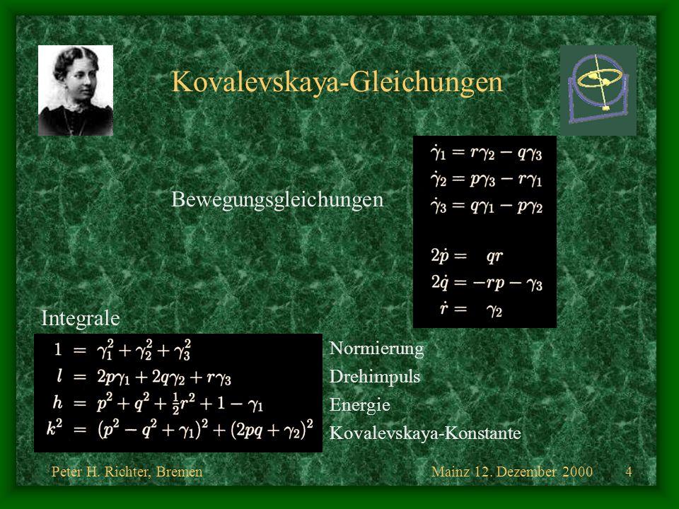 Mainz 12. Dezember 2000Peter H. Richter, Bremen4 Kovalevskaya-Gleichungen Bewegungsgleichungen Integrale Normierung Drehimpuls Energie Kovalevskaya-Ko