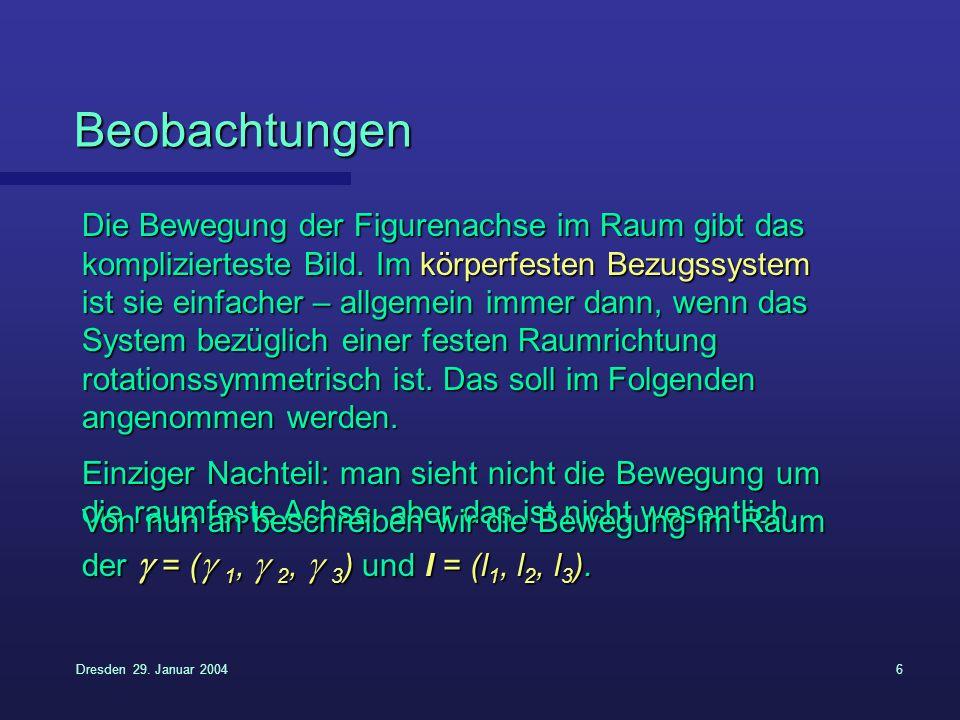 Dresden 29. Januar 20046 Beobachtungen Die Bewegung der Figurenachse im Raum gibt das komplizierteste Bild. Im körperfesten Bezugssystem ist sie einfa