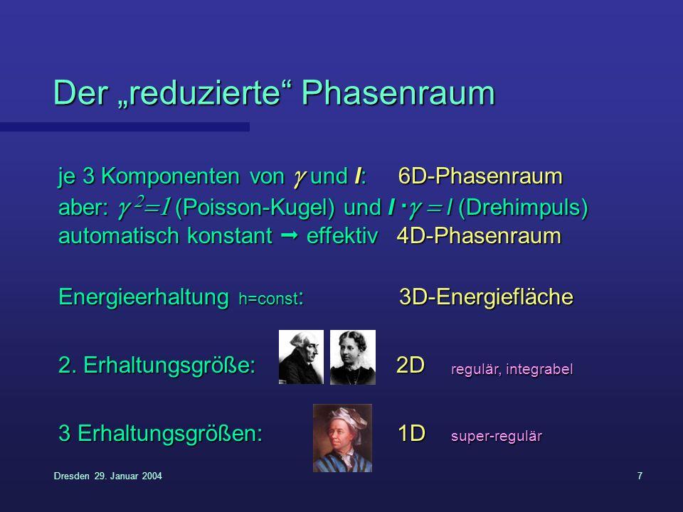 Dresden 29. Januar 20047 Der reduzierte Phasenraum je 3 Komponenten von und l: 6D-Phasenraum aber: (Poisson-Kugel) und l · l (Drehimpuls) automatisch