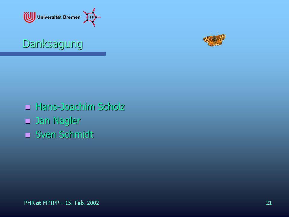 PHR at MPIPP – 15. Feb. 200221 Danksagung Hans-Joachim Scholz Hans-Joachim Scholz Jan Nagler Jan Nagler Sven Schmidt Sven Schmidt