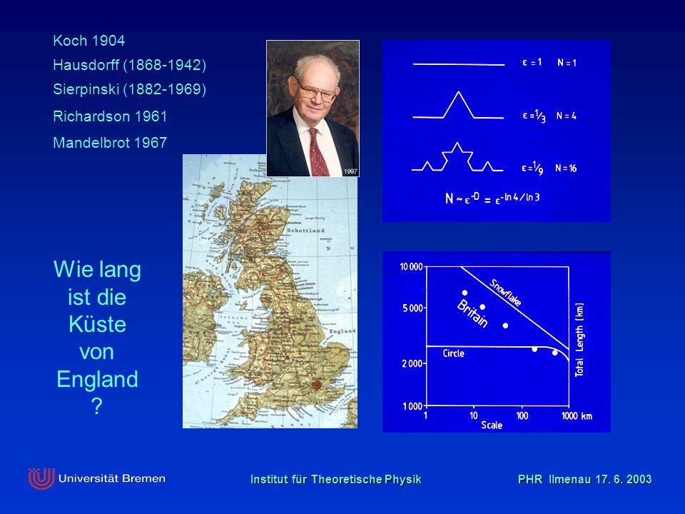 Institut für Theoretische Physik PHR Ilmenau 17. 6. 2003 Wie lang ist die Küste von England ? Koch 1904 Mandelbrot 1967 Hausdorff (1868-1942) Sierpins