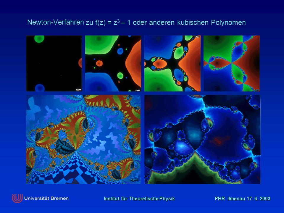 Institut für Theoretische Physik PHR Ilmenau 17. 6. 2003 zu f(z) = z 3 – 1 oder anderen kubischen Polynomen Newton-Verfahren