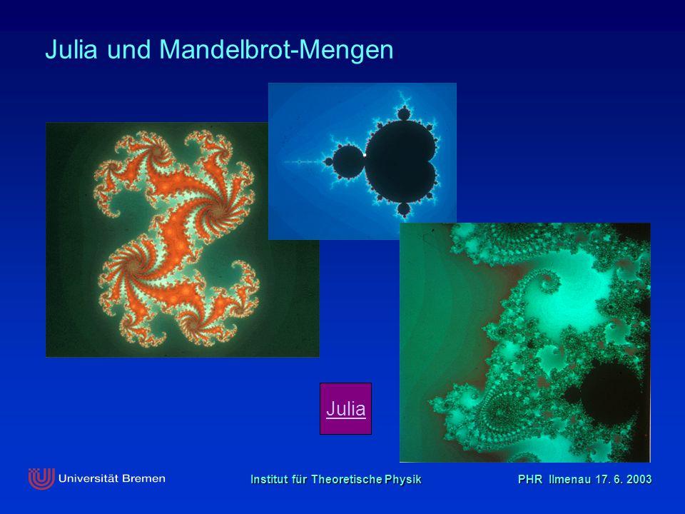 Institut für Theoretische Physik PHR Ilmenau 17. 6. 2003 Julia Julia und Mandelbrot-Mengen