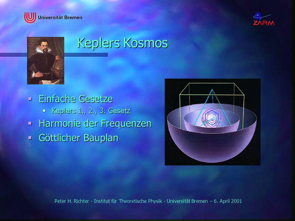 Peter H. Richter - Institut für Theoretische Physik - Universität Bremen – 6. April 2001 Keplers Kosmos Einfache Gesetze Einfache Gesetze Keplers 1.,