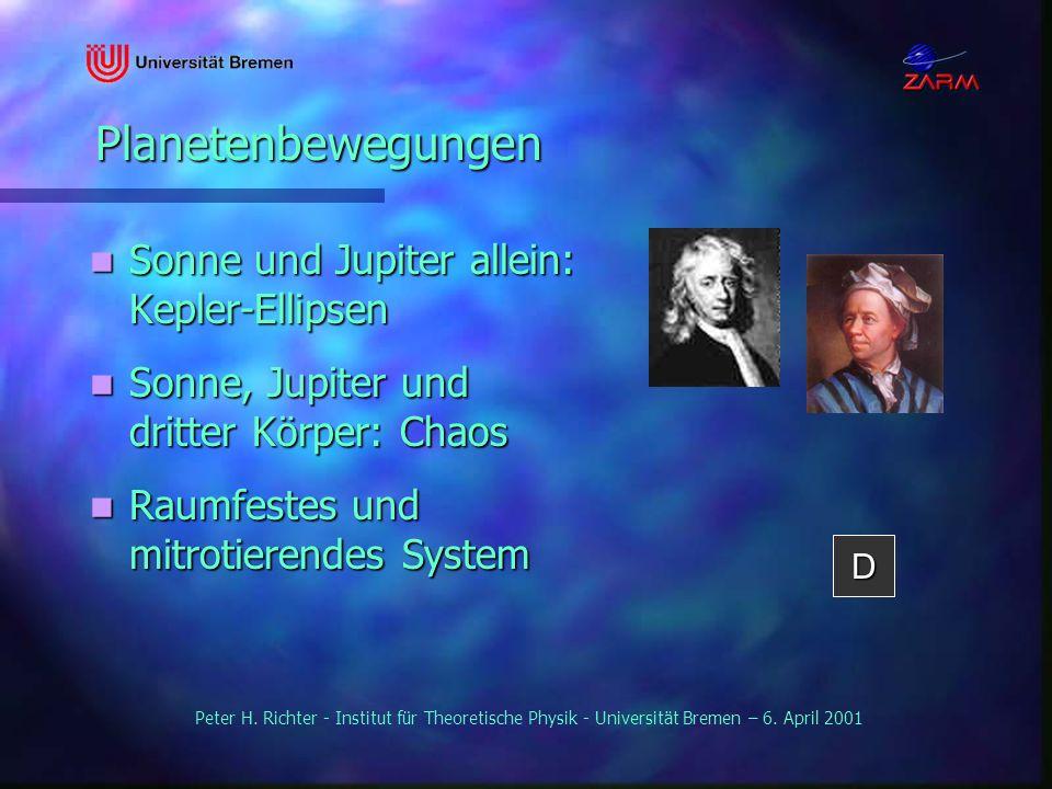 Peter H. Richter - Institut für Theoretische Physik - Universität Bremen – 6. April 2001 Planetenbewegungen Planetenbewegungen Sonne und Jupiter allei