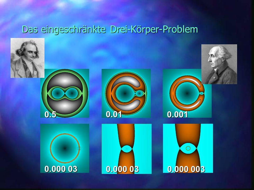 Das eingeschränkte Drei-Körper-Problem 0.000 03 0.000 003 0.5 0.01 0.001 0.000 03