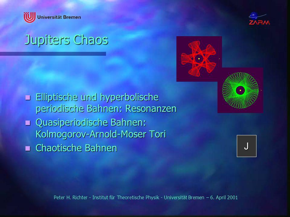 Peter H. Richter - Institut für Theoretische Physik - Universität Bremen – 6. April 2001 Jupiters Chaos Elliptische und hyperbolische periodische Bahn