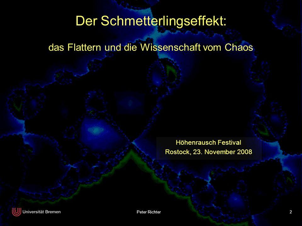 2 Höhenrausch Festival Rostock, 23. November 2008 Der Schmetterlingseffekt: das Flattern und die Wissenschaft vom Chaos