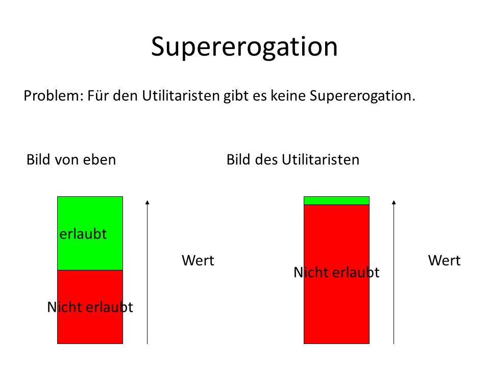 Supererogation Problem: Für den Utilitaristen gibt es keine Supererogation. Nicht erlaubt erlaubt Wert Nicht erlaubt Wert Bild von eben Bild des Utili