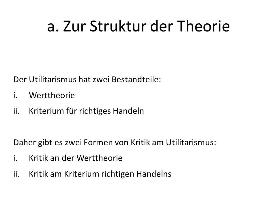 a. Zur Struktur der Theorie Der Utilitarismus hat zwei Bestandteile: i.Werttheorie ii.Kriterium für richtiges Handeln Daher gibt es zwei Formen von Kr