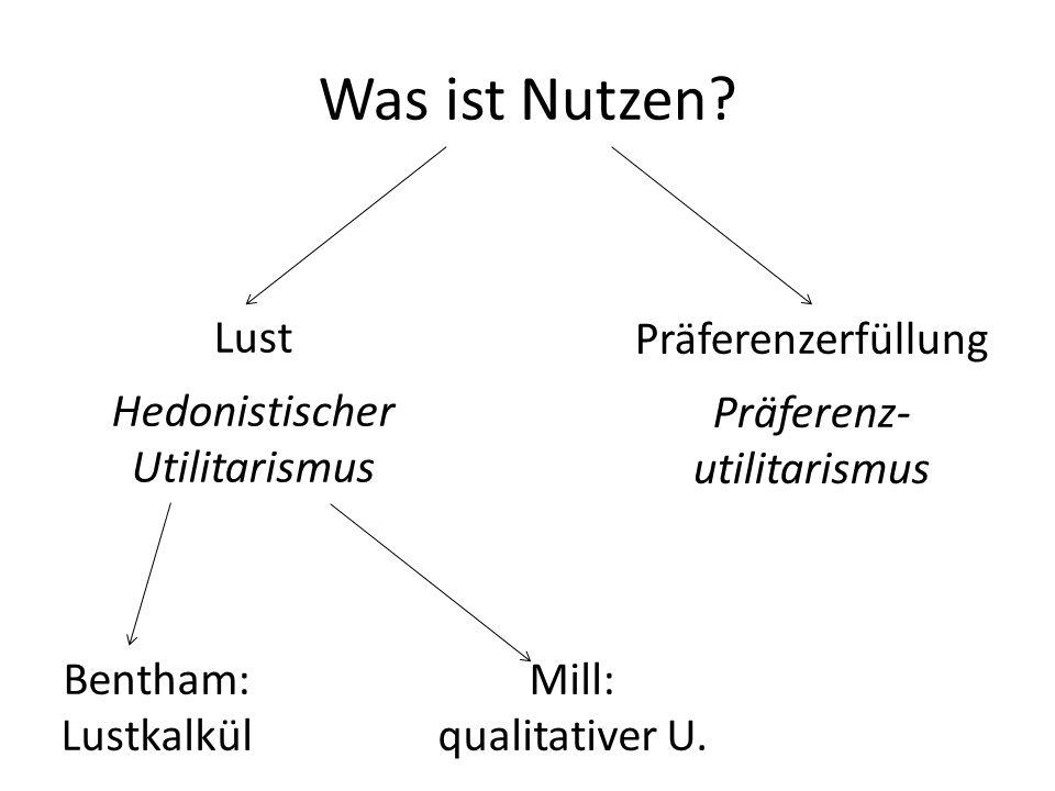 Was ist Nutzen? Lust Hedonistischer Utilitarismus Präferenzerfüllung Präferenz- utilitarismus Bentham: Lustkalkül Mill: qualitativer U.