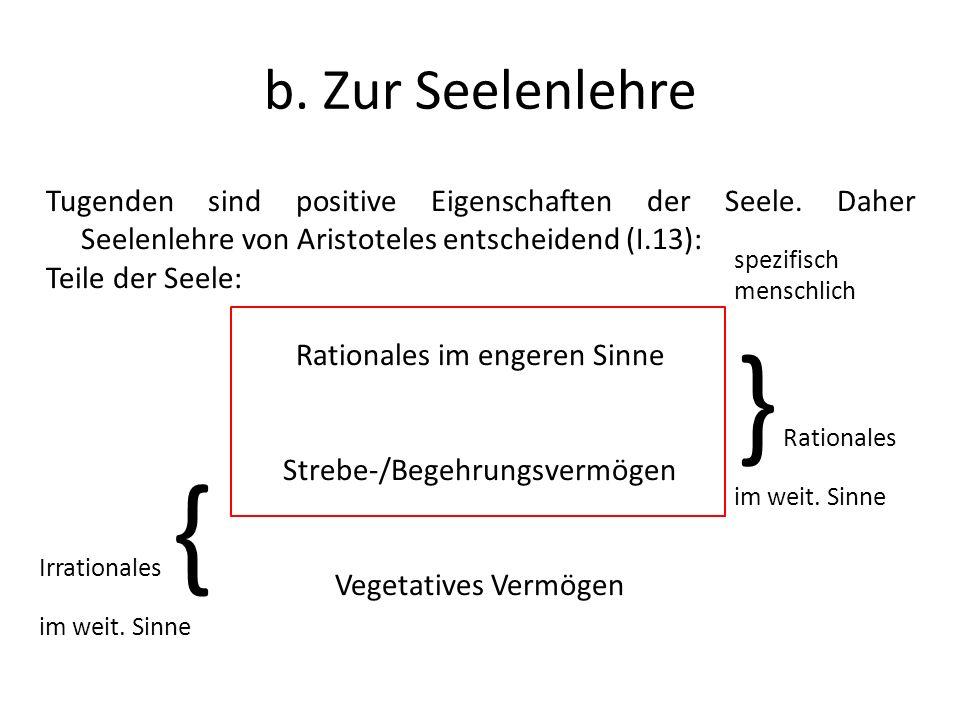 b. Zur Seelenlehre Tugenden sind positive Eigenschaften der Seele. Daher Seelenlehre von Aristoteles entscheidend (I.13): Teile der Seele: Rationales