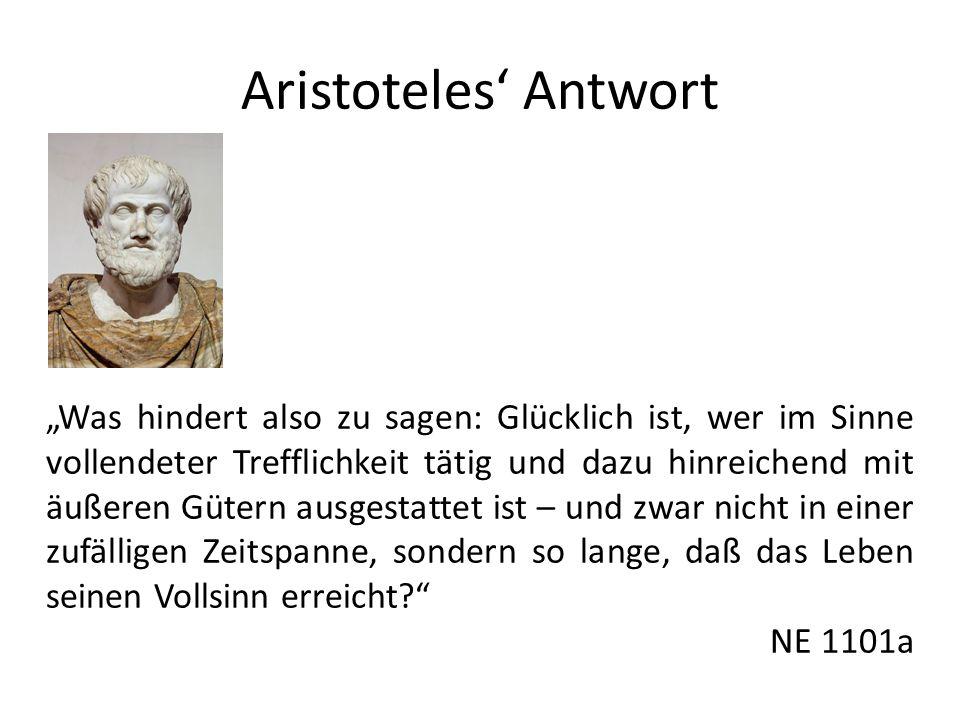 Aristoteles Antwort Was hindert also zu sagen: Glücklich ist, wer im Sinne vollendeter Trefflichkeit tätig und dazu hinreichend mit äußeren Gütern aus
