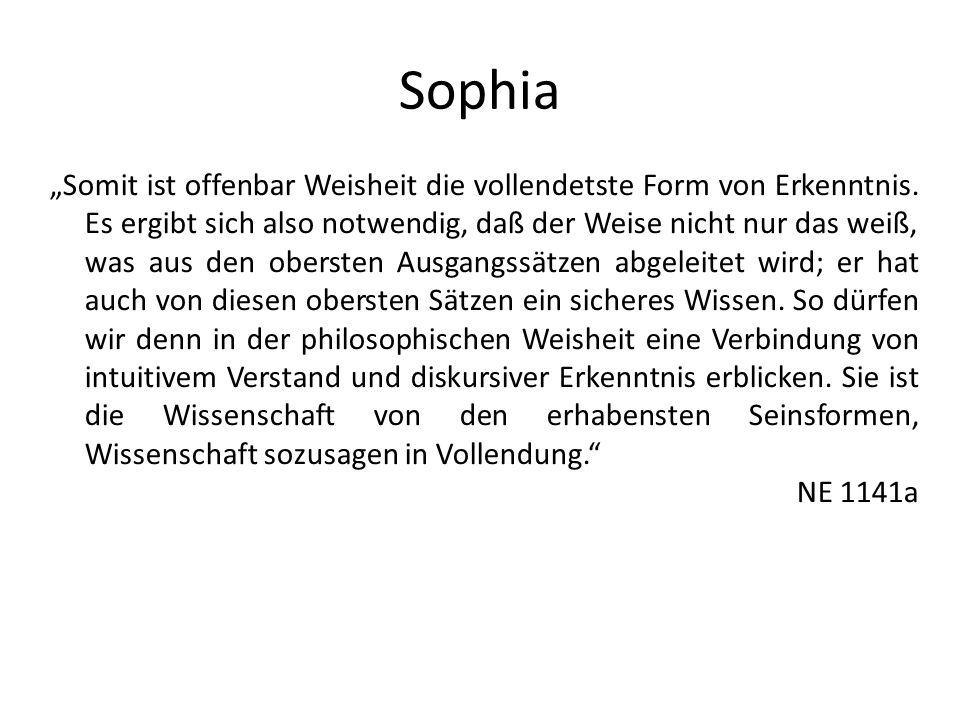 Sophia Somit ist offenbar Weisheit die vollendetste Form von Erkenntnis. Es ergibt sich also notwendig, daß der Weise nicht nur das weiß, was aus den