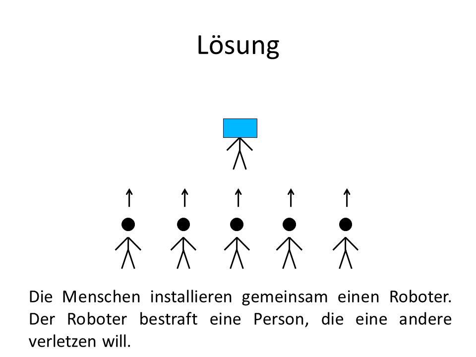Lösung Die Menschen installieren gemeinsam einen Roboter. Der Roboter bestraft eine Person, die eine andere verletzen will.
