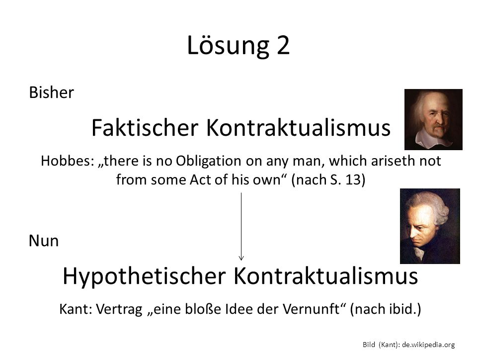 Lösung 2 Bisher Faktischer Kontraktualismus Hobbes: there is no Obligation on any man, which ariseth not from some Act of his own (nach S. 13) Nun Hyp
