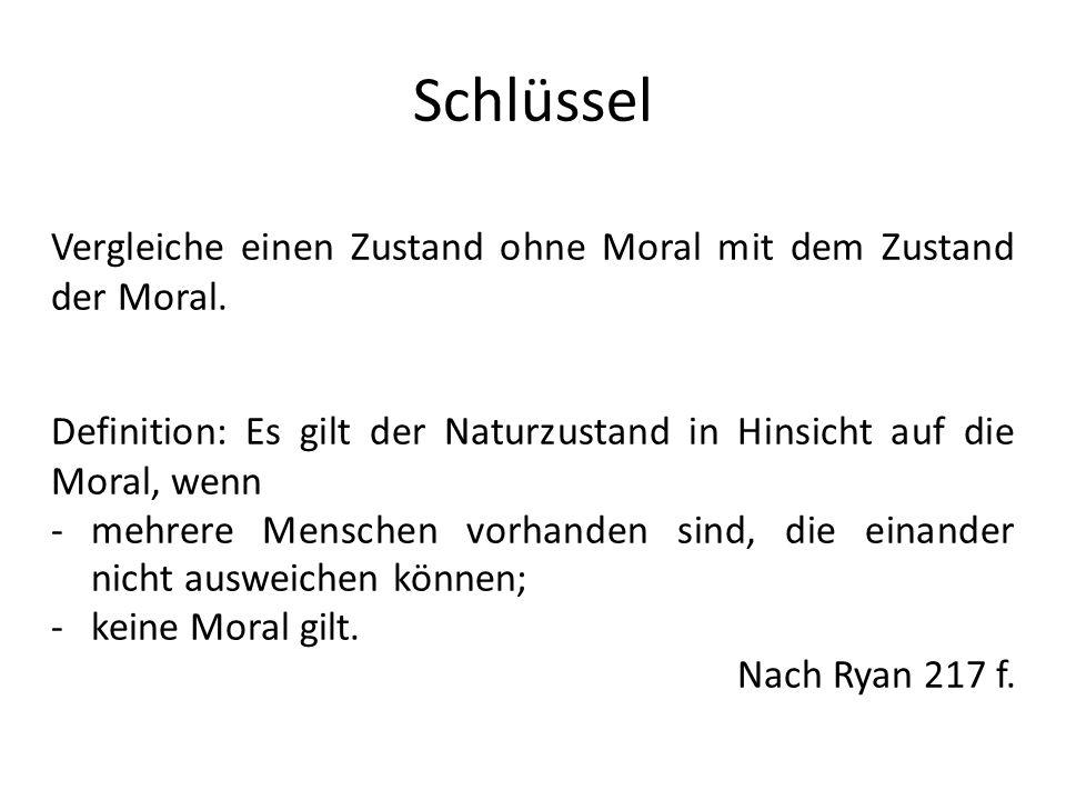 Schlüssel Vergleiche einen Zustand ohne Moral mit dem Zustand der Moral. Definition: Es gilt der Naturzustand in Hinsicht auf die Moral, wenn -mehrere
