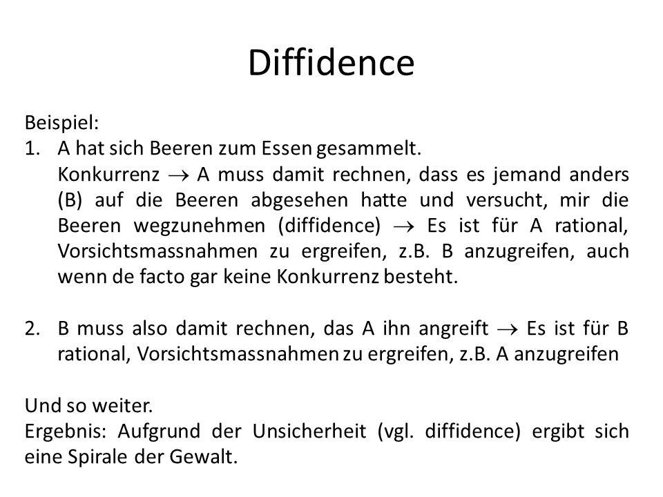Diffidence Beispiel: 1.A hat sich Beeren zum Essen gesammelt. Konkurrenz A muss damit rechnen, dass es jemand anders (B) auf die Beeren abgesehen hatt