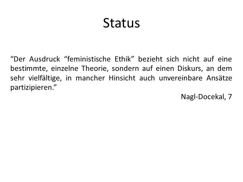Status Der Ausdruck feministische Ethik bezieht sich nicht auf eine bestimmte, einzelne Theorie, sondern auf einen Diskurs, an dem sehr vielfältige, i