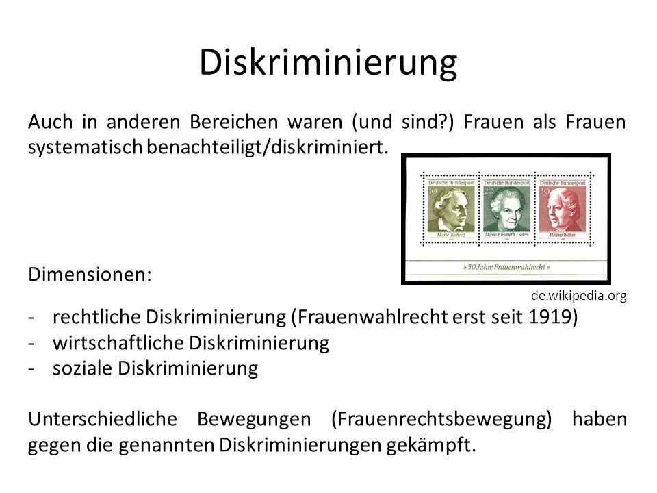 Diskriminierung Auch in anderen Bereichen waren (und sind?) Frauen als Frauen systematisch benachteiligt/diskriminiert. Dimensionen: de.wikipedia.org