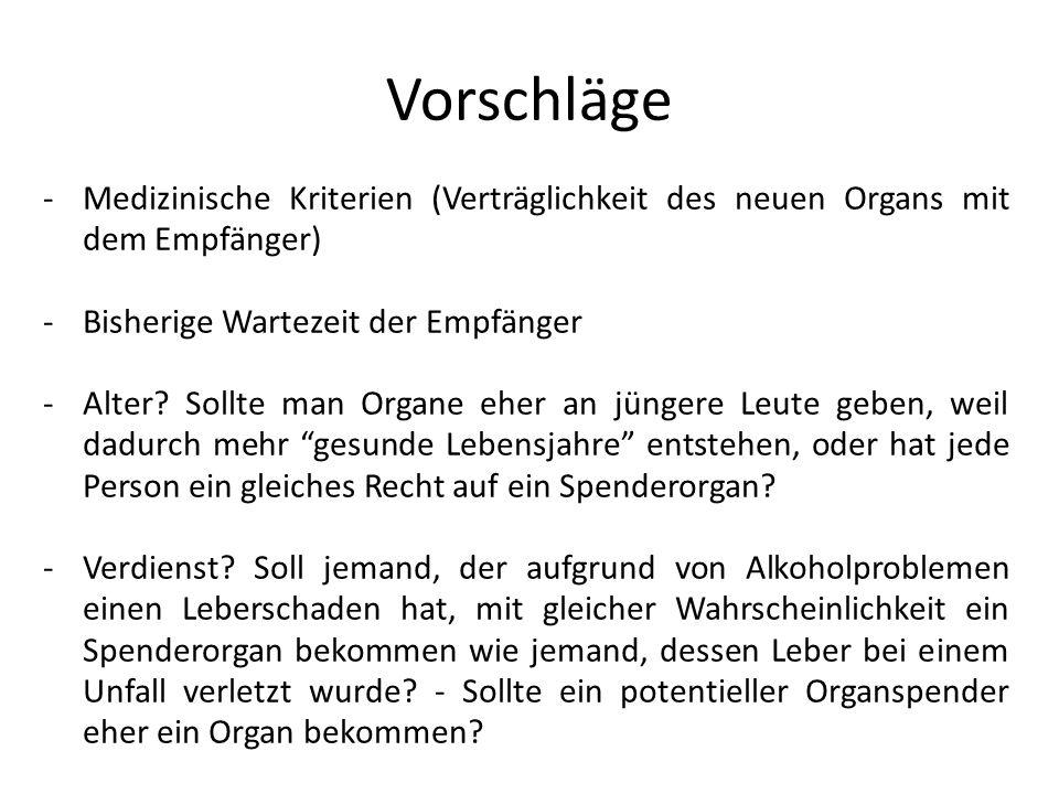 Vorschläge -Medizinische Kriterien (Verträglichkeit des neuen Organs mit dem Empfänger) -Bisherige Wartezeit der Empfänger -Alter? Sollte man Organe e