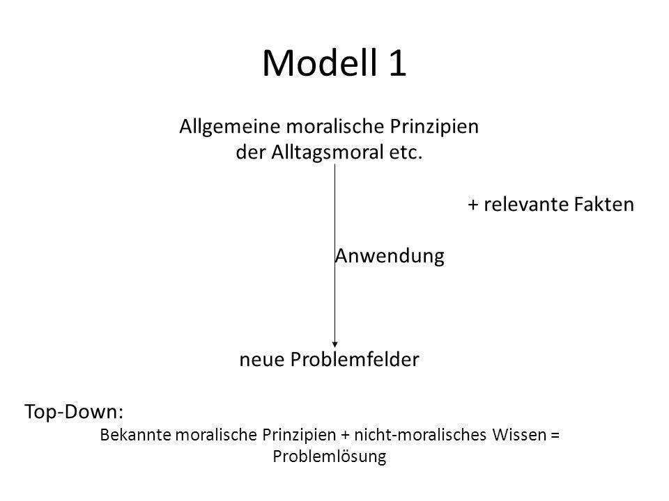 Modell 1 Allgemeine moralische Prinzipien der Alltagsmoral etc. + relevante Fakten Anwendung neue Problemfelder Top-Down: Bekannte moralische Prinzipi
