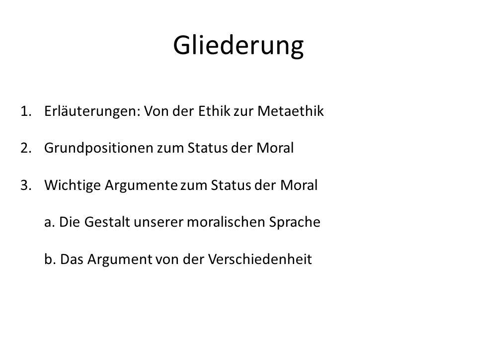 Gliederung 1.Erläuterungen: Von der Ethik zur Metaethik 2.Grundpositionen zum Status der Moral 3.Wichtige Argumente zum Status der Moral a. Die Gestal