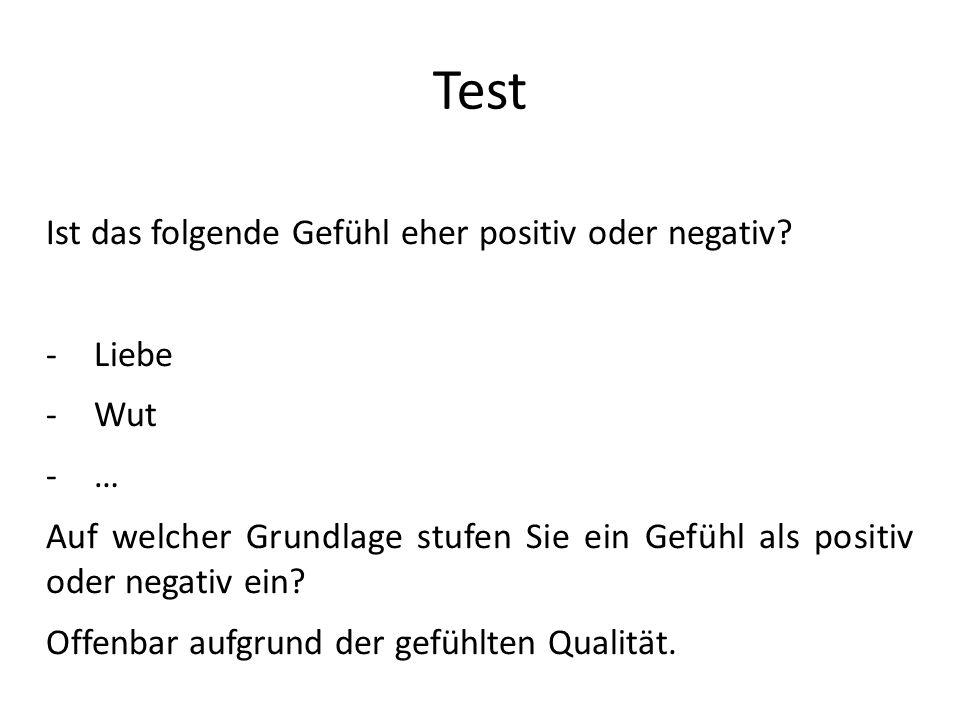 Test Ist das folgende Gefühl eher positiv oder negativ? -Liebe -Wut -… Auf welcher Grundlage stufen Sie ein Gefühl als positiv oder negativ ein? Offen
