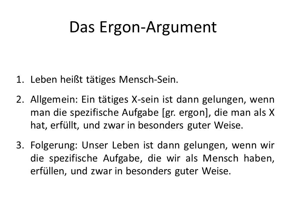 Das Ergon-Argument 1.Leben heißt tätiges Mensch-Sein.