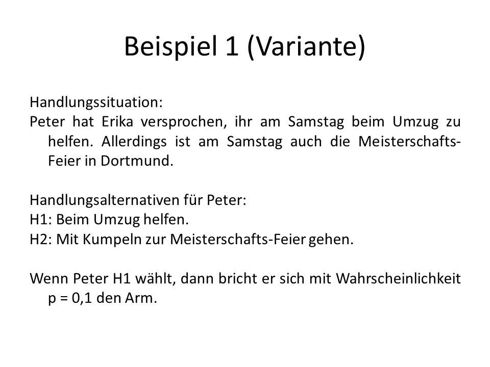 Beispiel 1 (Variante) Handlungssituation: Peter hat Erika versprochen, ihr am Samstag beim Umzug zu helfen.