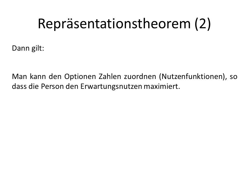 Repräsentationstheorem (2) Dann gilt: Man kann den Optionen Zahlen zuordnen (Nutzenfunktionen), so dass die Person den Erwartungsnutzen maximiert.