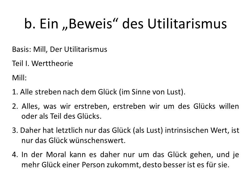 b.Ein Beweis des Utilitarismus Basis: Mill, Der Utilitarismus Teil I.