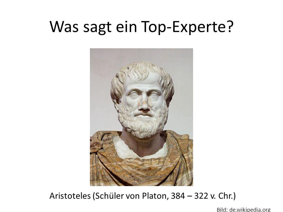 Was sagt ein Top-Experte.Aristoteles (Schüler von Platon, 384 – 322 v.