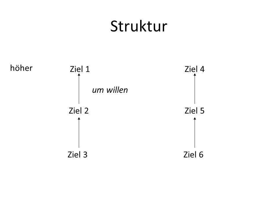 Struktur Ziel 4Ziel 1 Ziel 2 Ziel 3 Ziel 5 Ziel 6 um willen höher