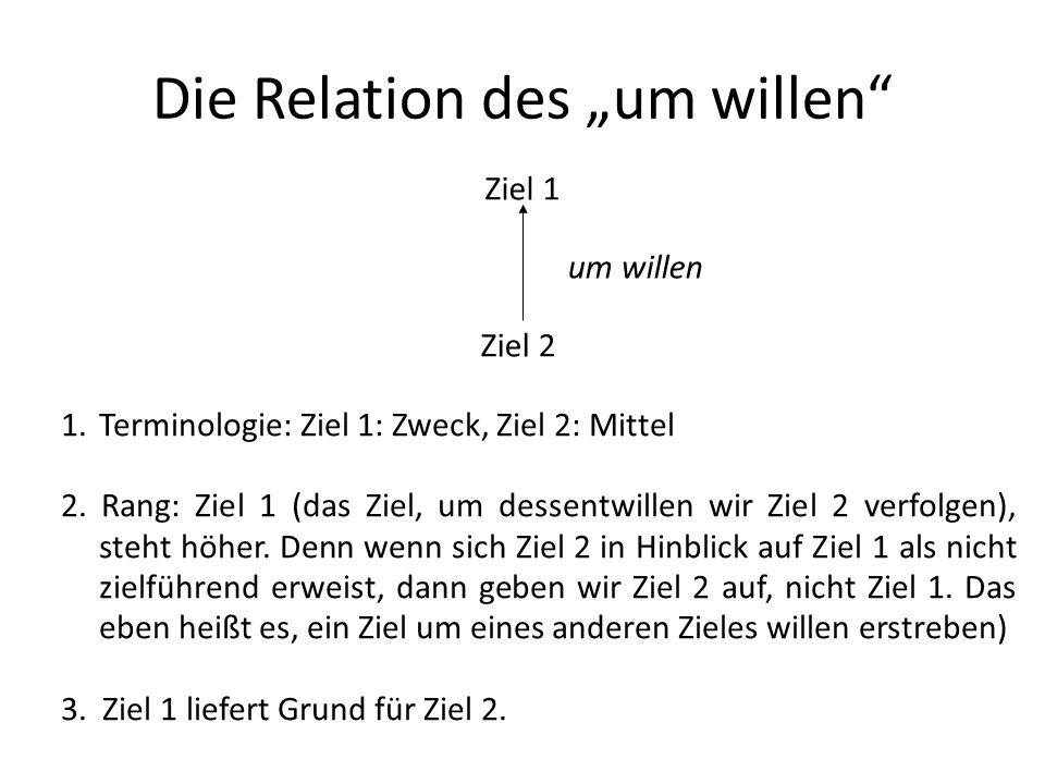 Die Relation des um willen Ziel 1 Ziel 2 um willen 1.Terminologie: Ziel 1: Zweck, Ziel 2: Mittel 2. Rang: Ziel 1 (das Ziel, um dessentwillen wir Ziel